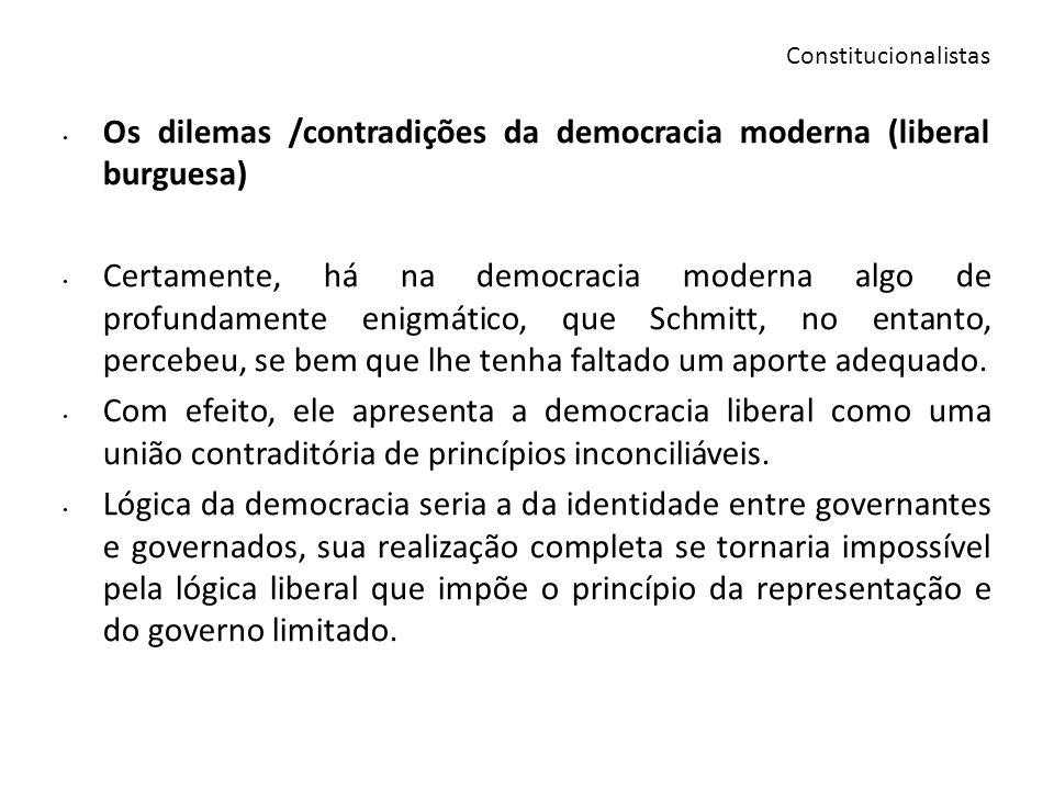 Os dilemas /contradições da democracia moderna (liberal burguesa) Certamente, há na democracia moderna algo de profundamente enigmático, que Schmitt,
