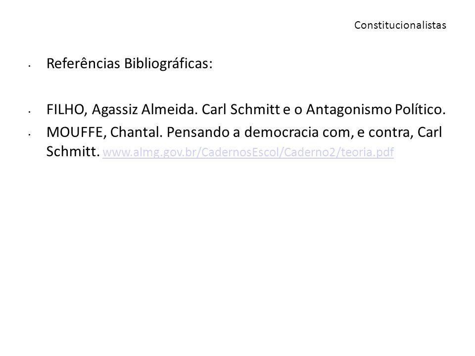 Referências Bibliográficas: FILHO, Agassiz Almeida. Carl Schmitt e o Antagonismo Político. MOUFFE, Chantal. Pensando a democracia com, e contra, Carl