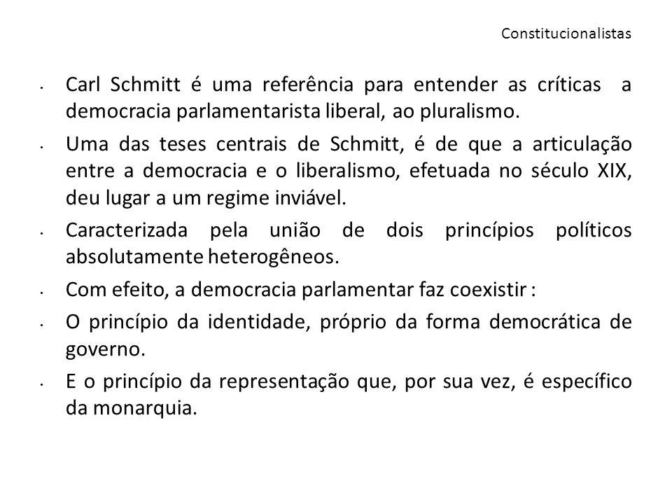 Para Schmitt, o princípio do parlamentarismo, enquanto preeminência do legislativo sobre o executivo, não pertence ao universo do pensamento da democracia, mas ao do liberalismo.