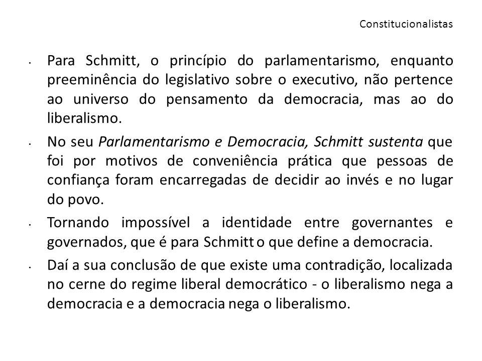 Para Schmitt, o princípio do parlamentarismo, enquanto preeminência do legislativo sobre o executivo, não pertence ao universo do pensamento da democr