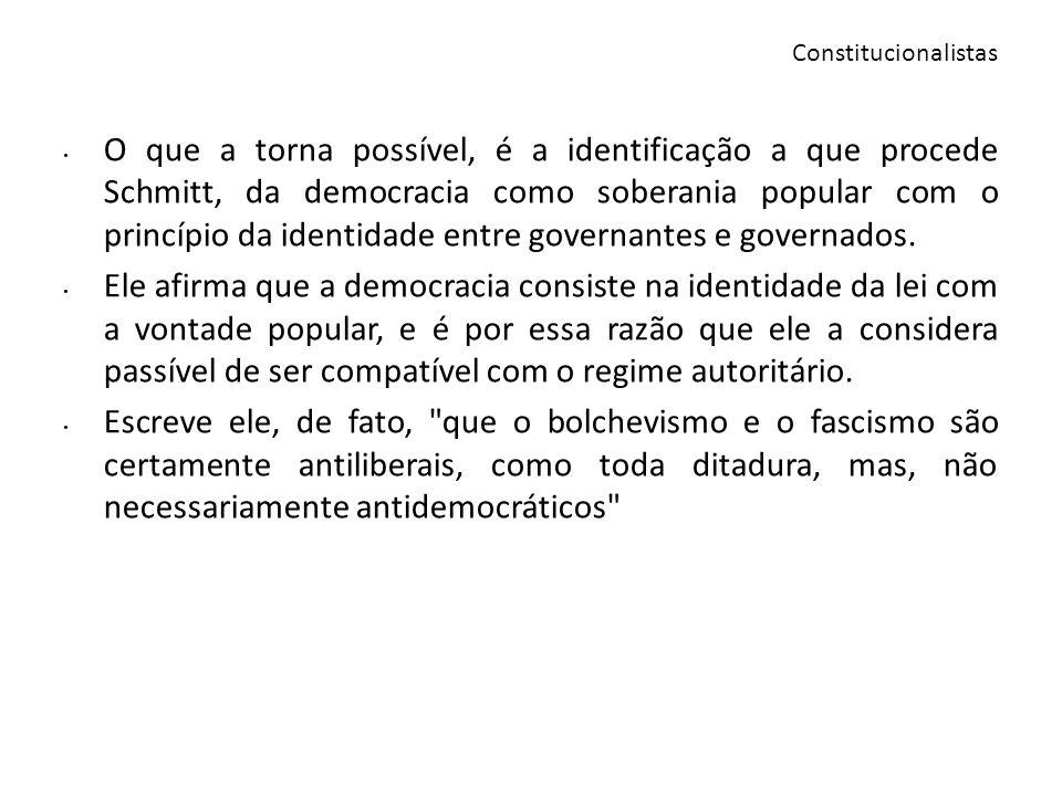 O que a torna possível, é a identificação a que procede Schmitt, da democracia como soberania popular com o princípio da identidade entre governantes