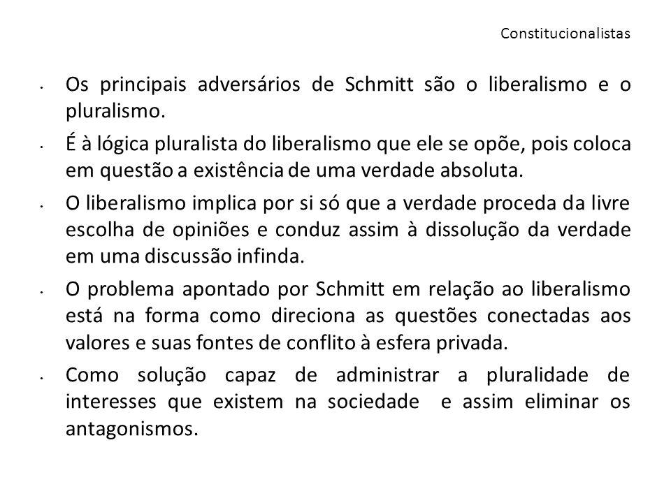 Os principais adversários de Schmitt são o liberalismo e o pluralismo. É à lógica pluralista do liberalismo que ele se opõe, pois coloca em questão a
