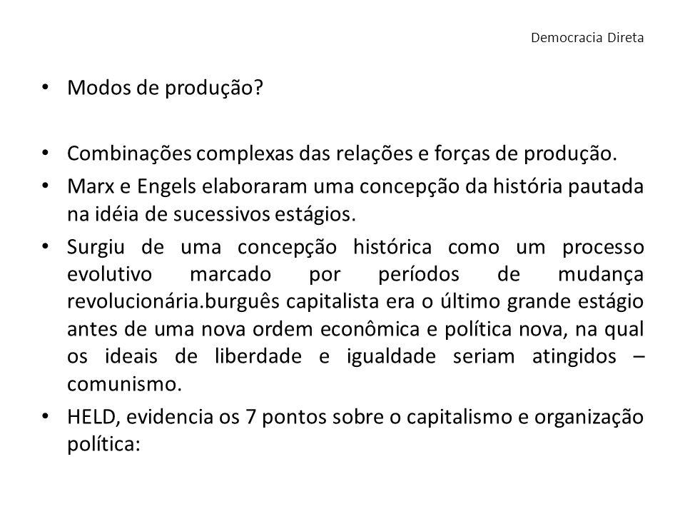 Modos de produção? Combinações complexas das relações e forças de produção. Marx e Engels elaboraram uma concepção da história pautada na idéia de suc