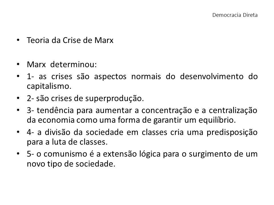 Teoria da Crise de Marx Marx determinou: 1- as crises são aspectos normais do desenvolvimento do capitalismo. 2- são crises de superprodução. 3- tendê