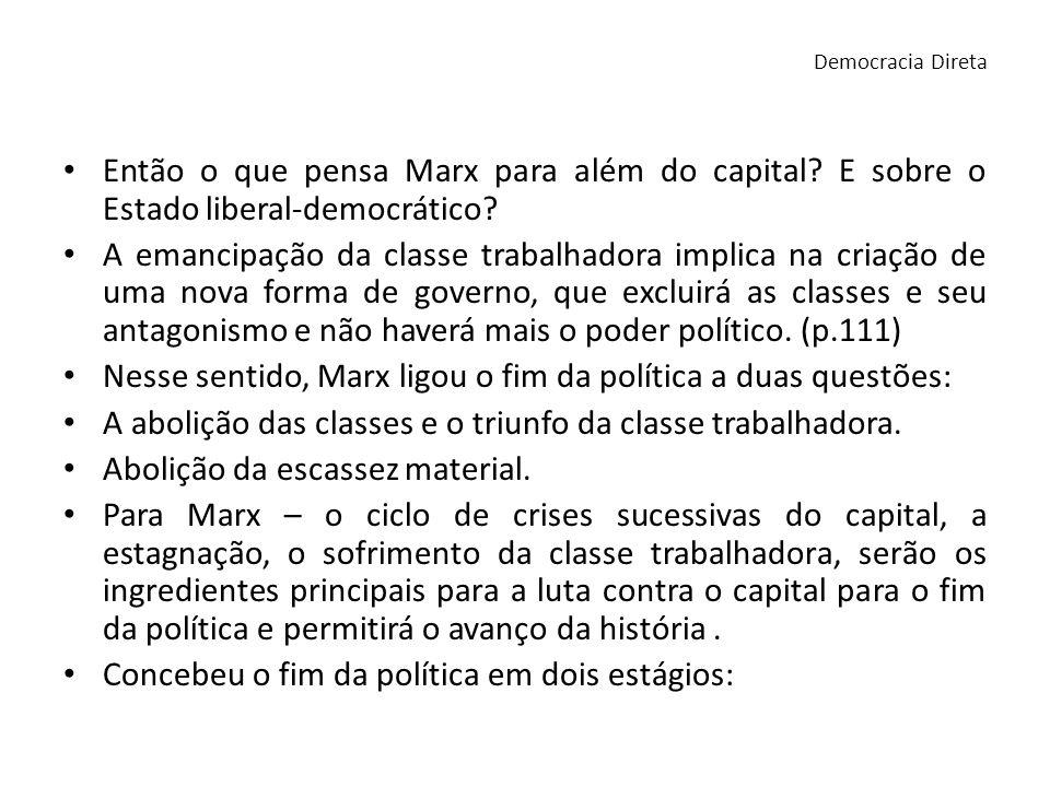 Então o que pensa Marx para além do capital? E sobre o Estado liberal-democrático? A emancipação da classe trabalhadora implica na criação de uma nova