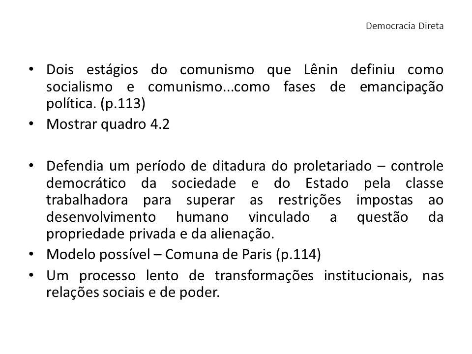 Dois estágios do comunismo que Lênin definiu como socialismo e comunismo...como fases de emancipação política. (p.113) Mostrar quadro 4.2 Defendia um