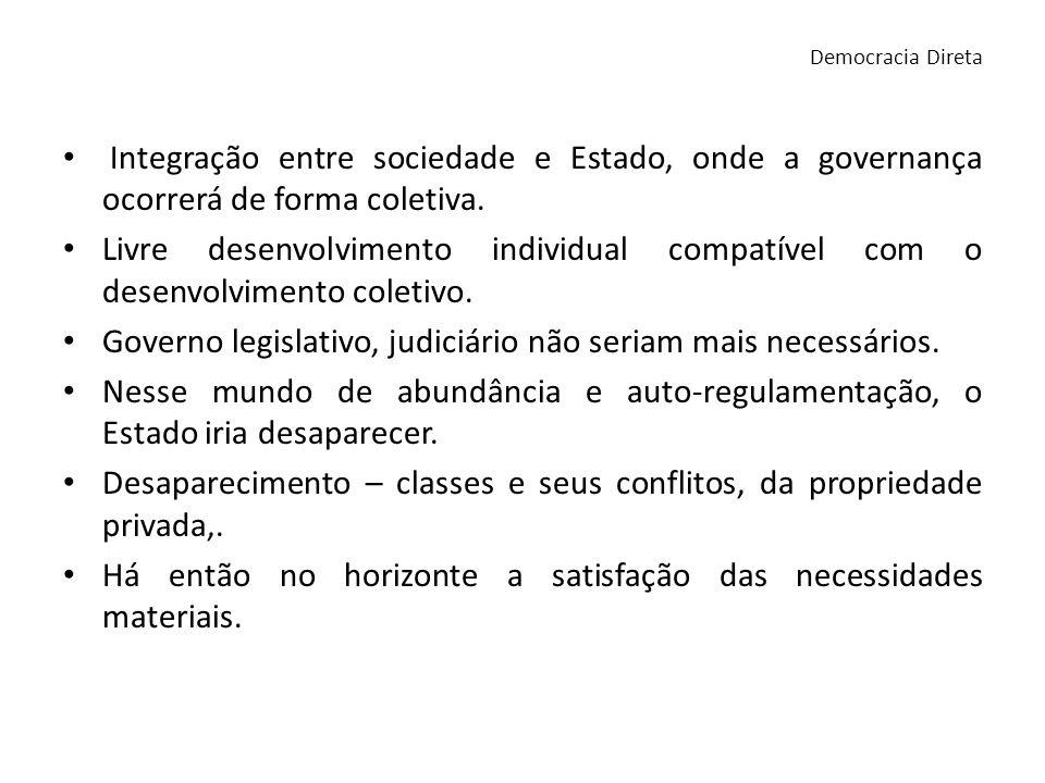Integração entre sociedade e Estado, onde a governança ocorrerá de forma coletiva. Livre desenvolvimento individual compatível com o desenvolvimento c