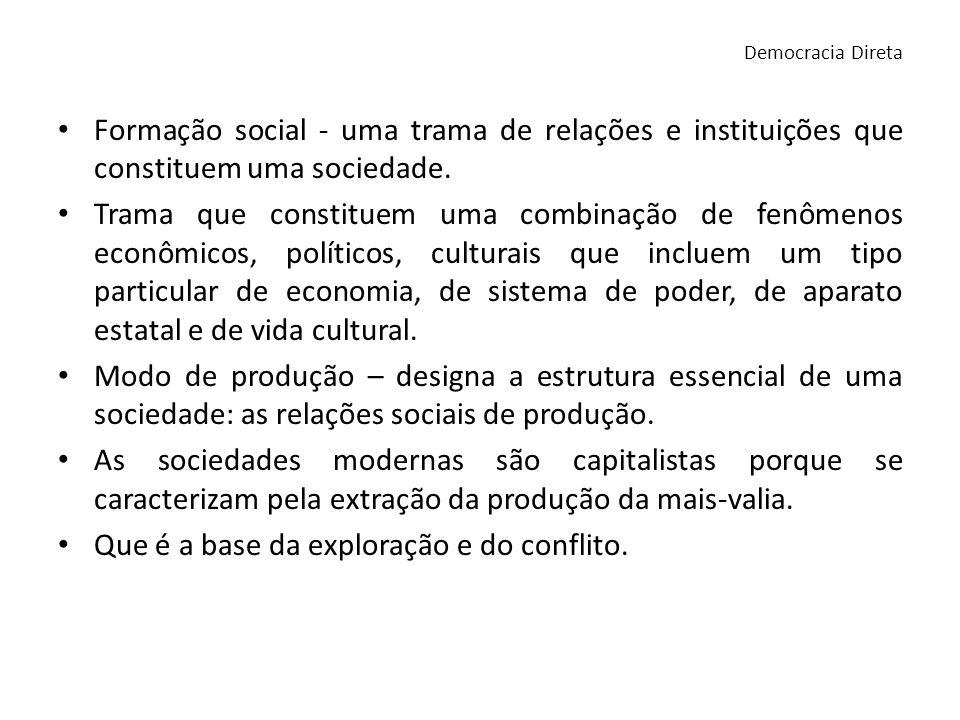 Formação social - uma trama de relações e instituições que constituem uma sociedade. Trama que constituem uma combinação de fenômenos econômicos, polí