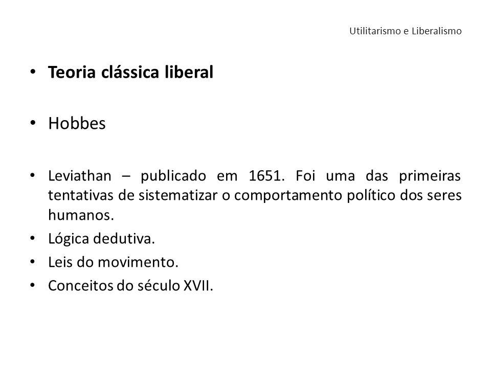 Teoria clássica liberal Hobbes Leviathan – publicado em 1651. Foi uma das primeiras tentativas de sistematizar o comportamento político dos seres huma