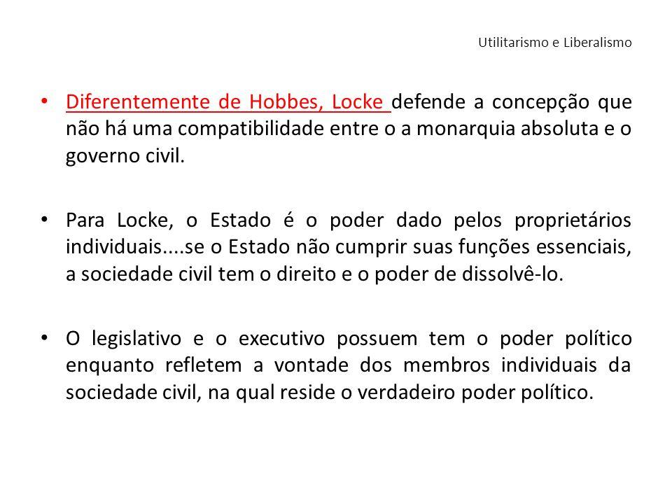 Diferentemente de Hobbes, Locke defende a concepção que não há uma compatibilidade entre o a monarquia absoluta e o governo civil. Para Locke, o Estad