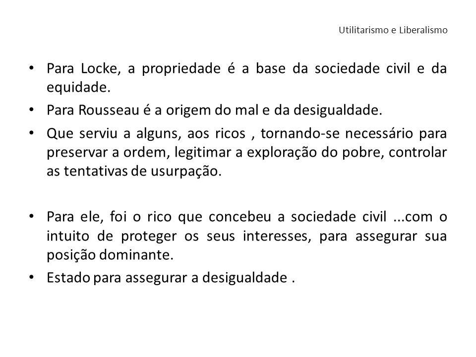 Para Locke, a propriedade é a base da sociedade civil e da equidade. Para Rousseau é a origem do mal e da desigualdade. Que serviu a alguns, aos ricos