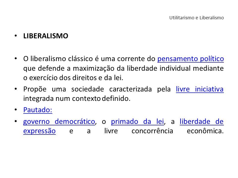 LIBERALISMO O liberalismo clássico é uma corrente do pensamento político que defende a maximização da liberdade individual mediante o exercício dos di