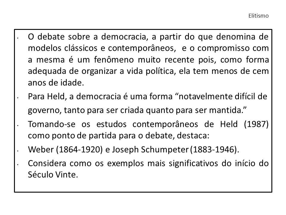 O debate sobre a democracia, a partir do que denomina de modelos clássicos e contemporâneos, e o compromisso com a mesma é um fenômeno muito recente p