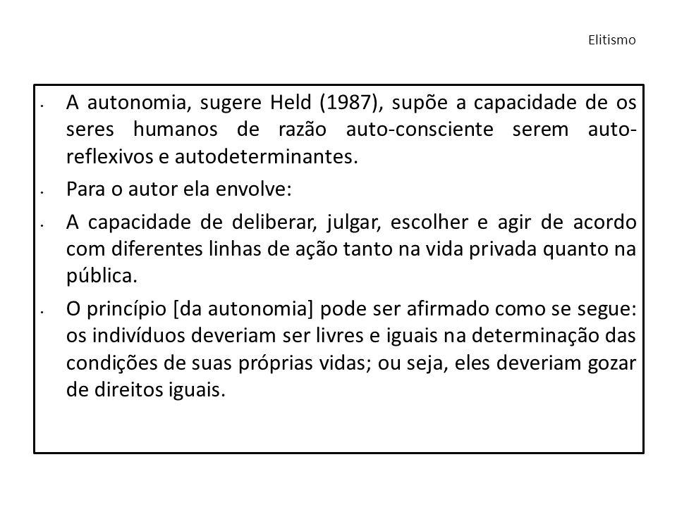 A autonomia, sugere Held (1987), supõe a capacidade de os seres humanos de razão auto-consciente serem auto- reflexivos e autodeterminantes. Para o au