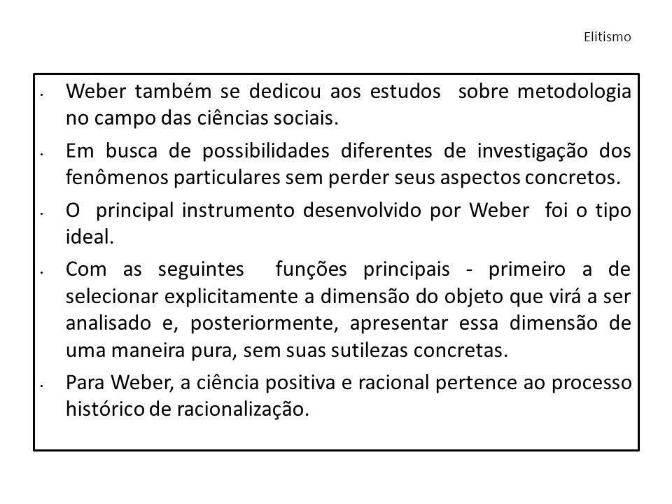 Weber também se dedicou aos estudos sobre metodologia no campo das ciências sociais. Em busca de possibilidades diferentes de investigação dos fenômen