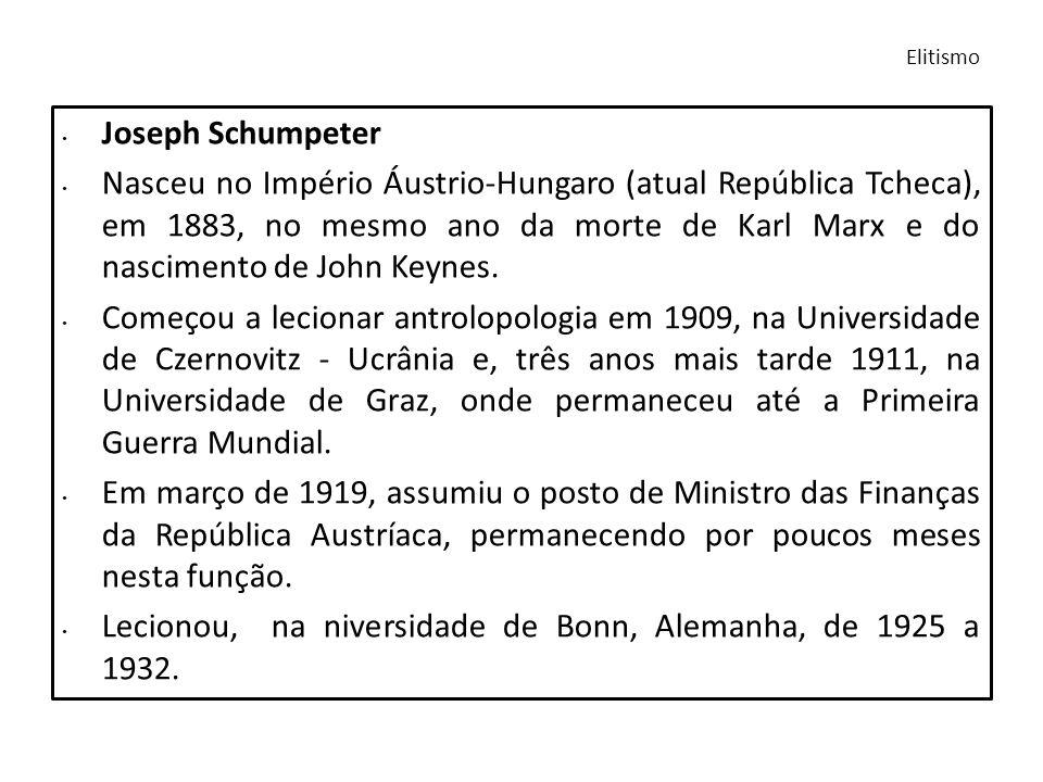 Joseph Schumpeter Nasceu no Império Áustrio-Hungaro (atual República Tcheca), em 1883, no mesmo ano da morte de Karl Marx e do nascimento de John Keyn