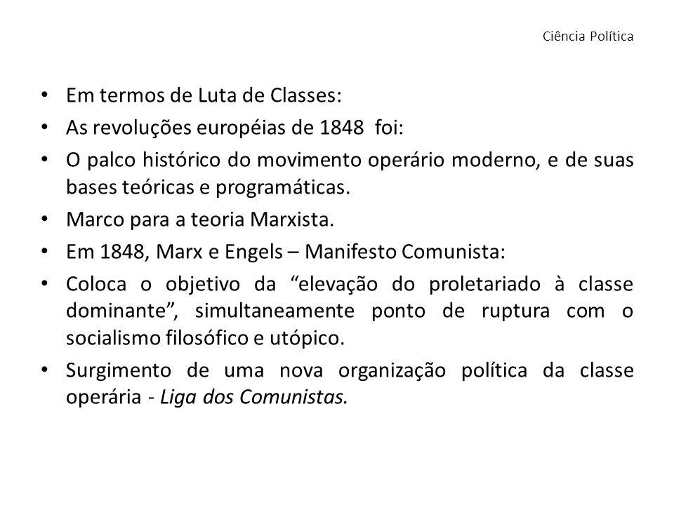 Em termos de Luta de Classes: As revoluções européias de 1848 foi: O palco histórico do movimento operário moderno, e de suas bases teóricas e program