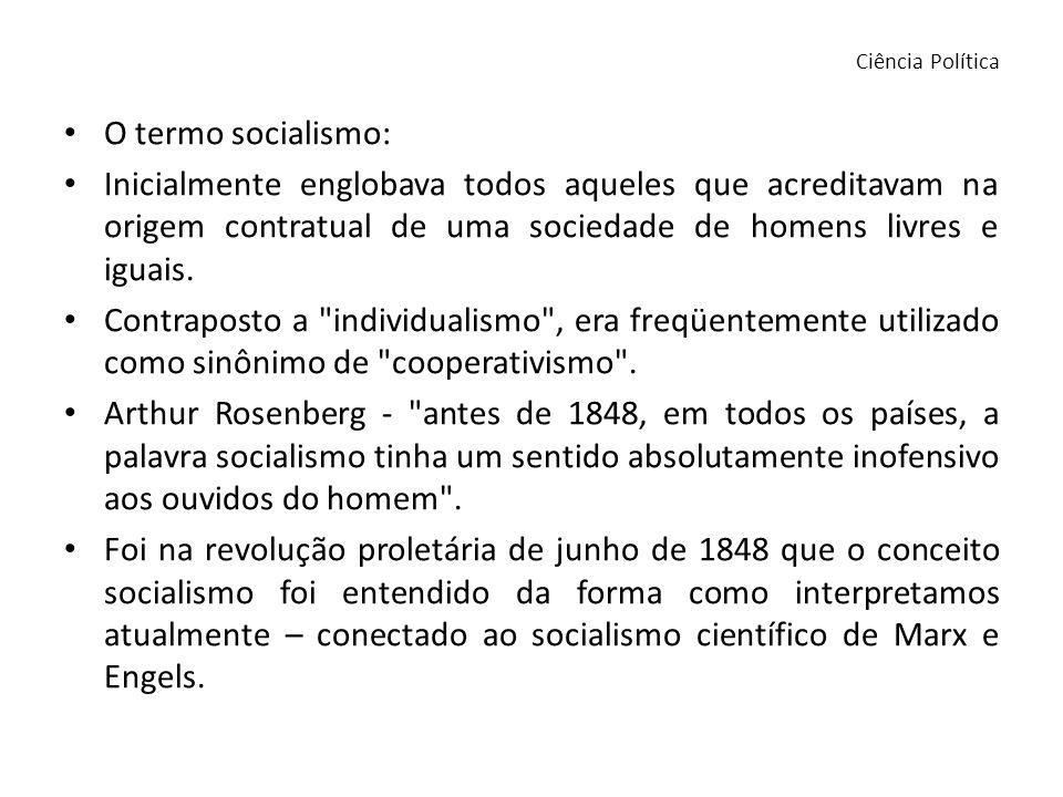 O termo socialismo: Inicialmente englobava todos aqueles que acreditavam na origem contratual de uma sociedade de homens livres e iguais. Contraposto