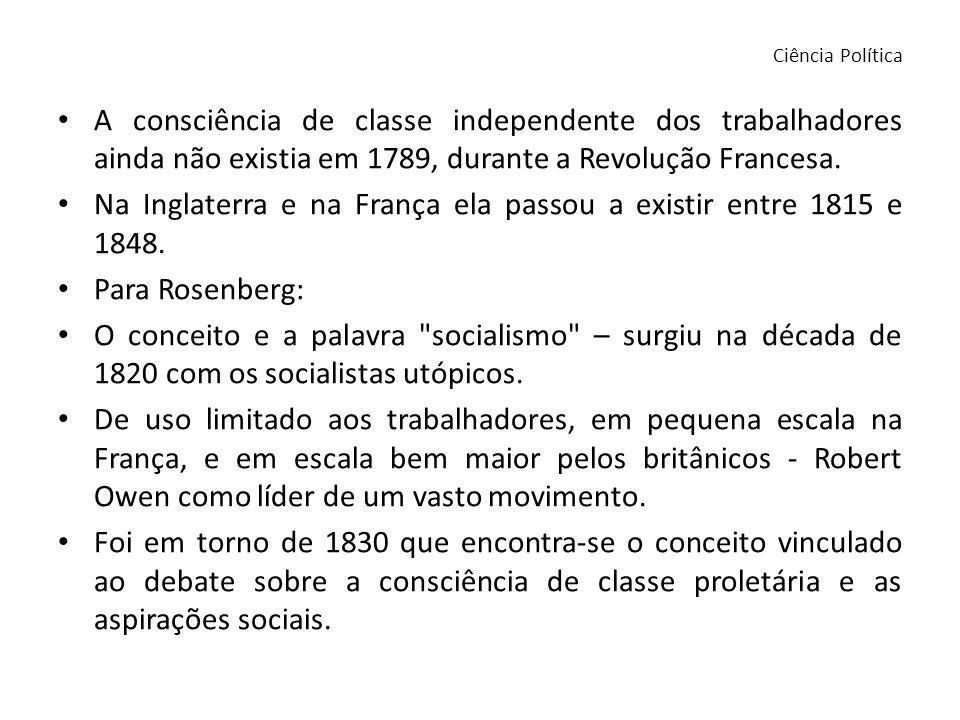A consciência de classe independente dos trabalhadores ainda não existia em 1789, durante a Revolução Francesa. Na Inglaterra e na França ela passou a