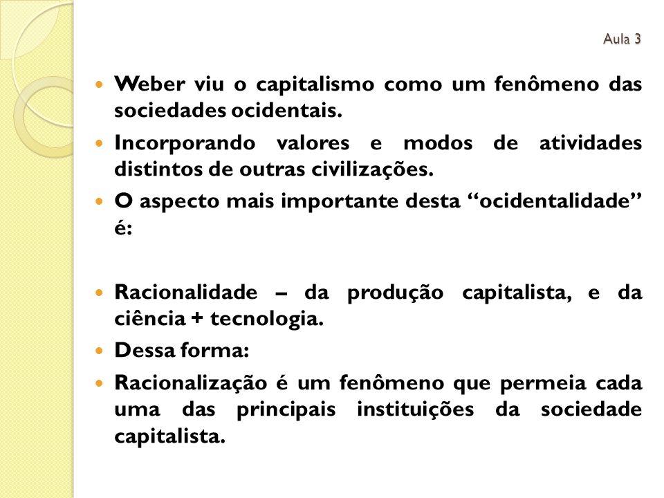 Weber viu o capitalismo como um fenômeno das sociedades ocidentais. Incorporando valores e modos de atividades distintos de outras civilizações. O asp