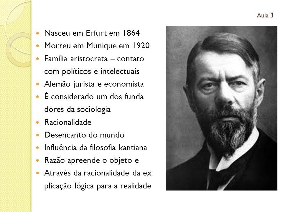 Nasceu em Erfurt em 1864 Morreu em Munique em 1920 Família aristocrata – contato com políticos e intelectuais Alemão jurista e economista É considerad