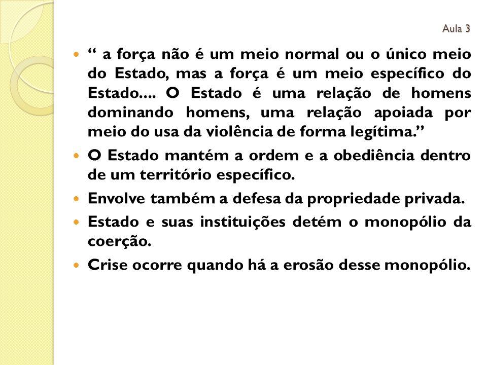 a força não é um meio normal ou o único meio do Estado, mas a força é um meio específico do Estado....