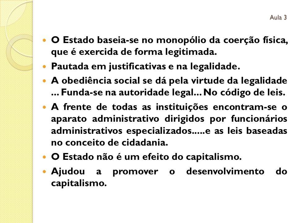 O Estado baseia-se no monopólio da coerção física, que é exercida de forma legitimada.