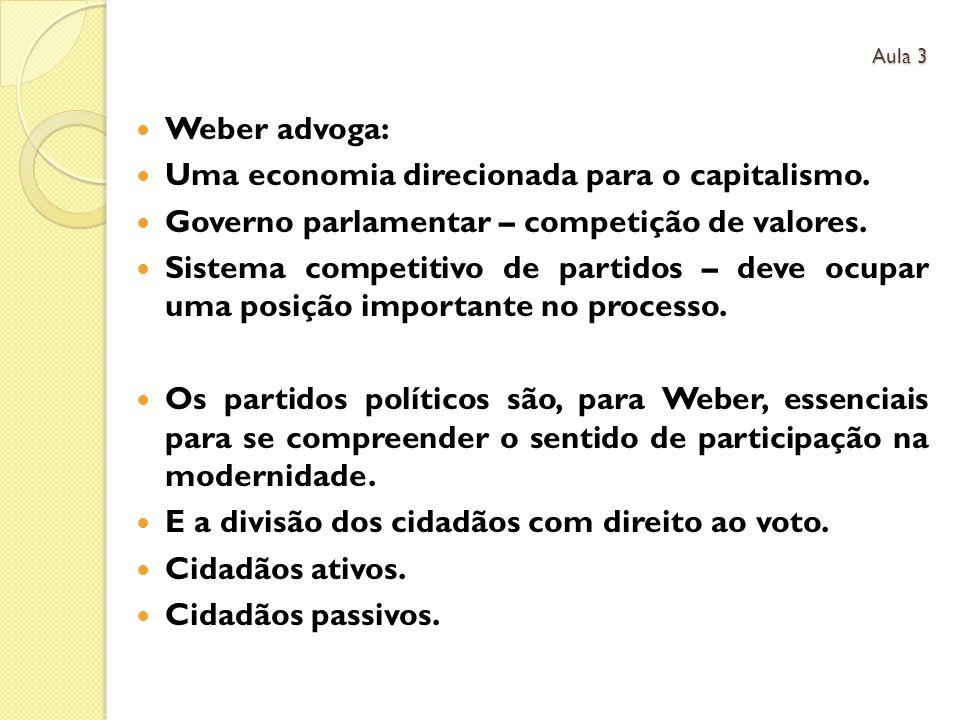 Weber advoga: Uma economia direcionada para o capitalismo. Governo parlamentar – competição de valores. Sistema competitivo de partidos – deve ocupar