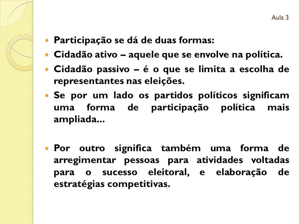 Participação se dá de duas formas: Cidadão ativo – aquele que se envolve na política. Cidadão passivo – é o que se limita a escolha de representantes