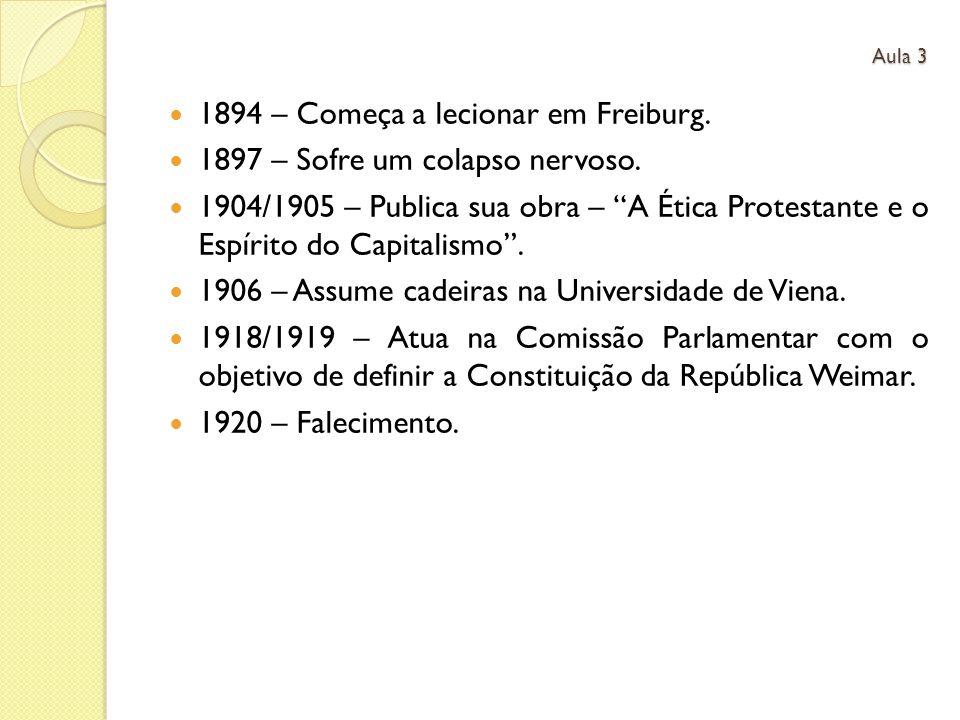 1894 – Começa a lecionar em Freiburg. 1897 – Sofre um colapso nervoso. 1904/1905 – Publica sua obra – A Ética Protestante e o Espírito do Capitalismo.