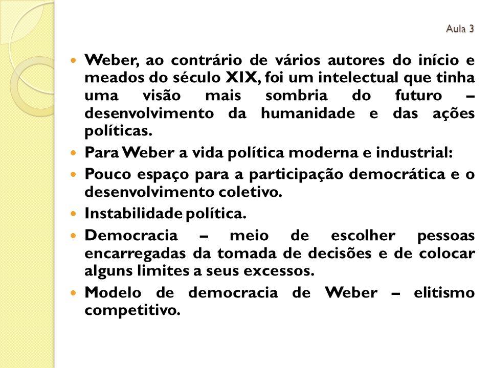 Weber, ao contrário de vários autores do início e meados do século XIX, foi um intelectual que tinha uma visão mais sombria do futuro – desenvolvimento da humanidade e das ações políticas.
