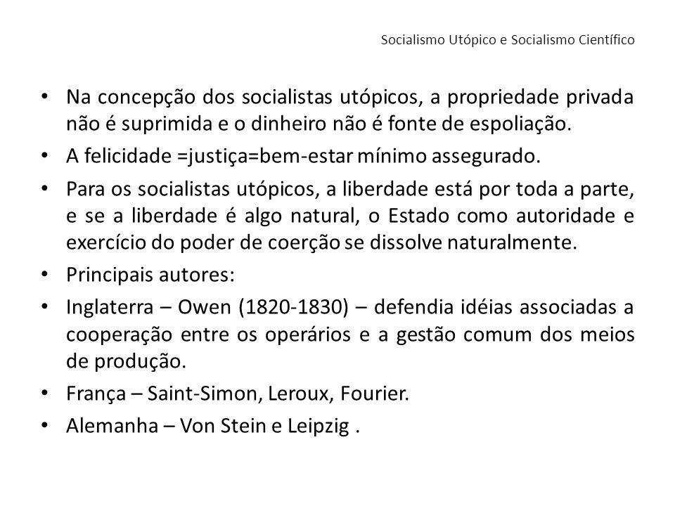 Bases do socialismo utópico: Transformação do ordenamento jurídico e econômico fundamentado na propriedade, nos meios de produção e troca.