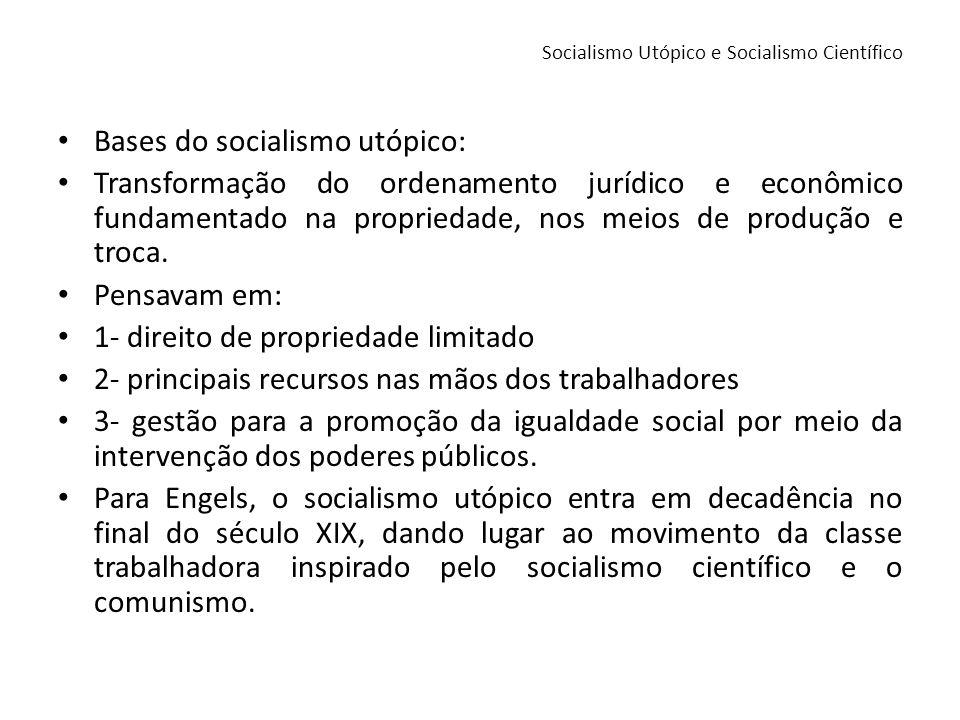 Bases do socialismo utópico: Transformação do ordenamento jurídico e econômico fundamentado na propriedade, nos meios de produção e troca. Pensavam em