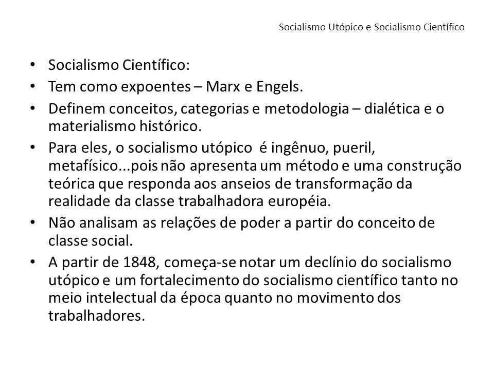 Socialismo Científico: Tem como expoentes – Marx e Engels. Definem conceitos, categorias e metodologia – dialética e o materialismo histórico. Para el
