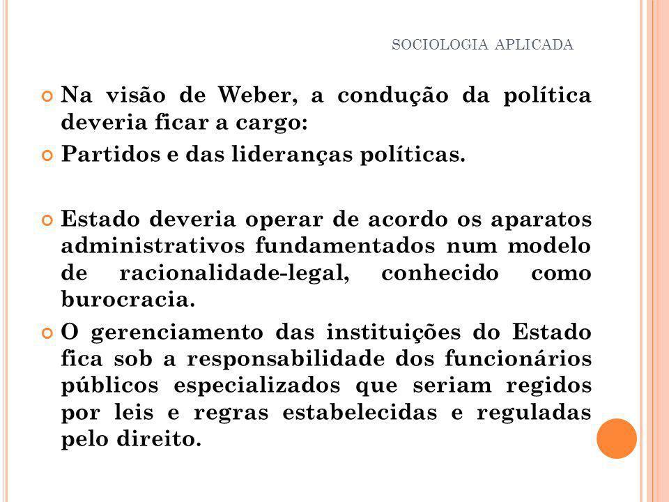 Na visão de Weber, a condução da política deveria ficar a cargo: Partidos e das lideranças políticas. Estado deveria operar de acordo os aparatos admi