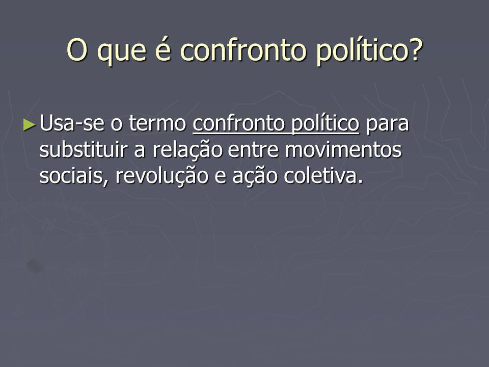 O que é confronto político? Usa-se o termo confronto político para substituir a relação entre movimentos sociais, revolução e ação coletiva. Usa-se o