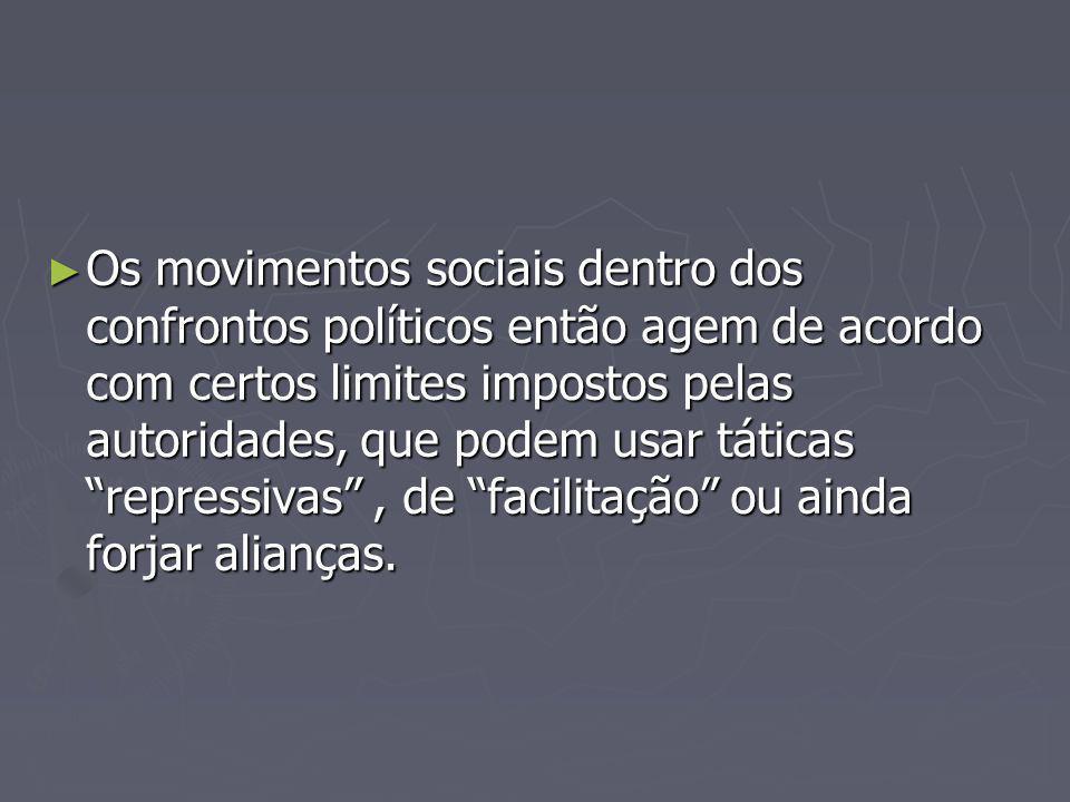 Os movimentos sociais dentro dos confrontos políticos então agem de acordo com certos limites impostos pelas autoridades, que podem usar táticas repressivas, de facilitação ou ainda forjar alianças.