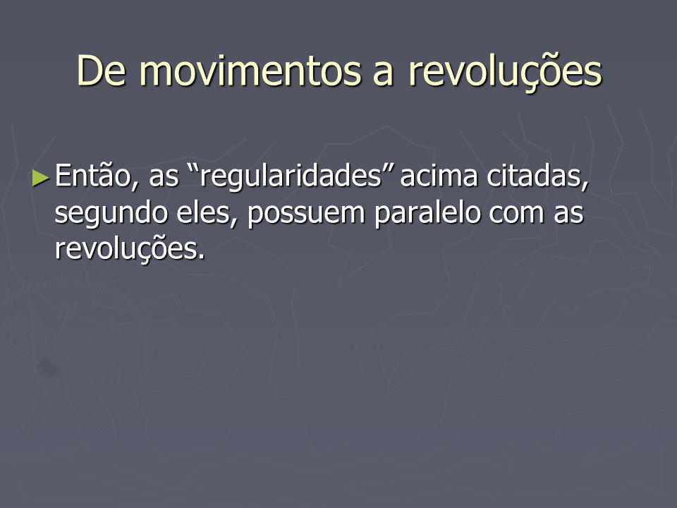 De movimentos a revoluções Então, as regularidades acima citadas, segundo eles, possuem paralelo com as revoluções. Então, as regularidades acima cita