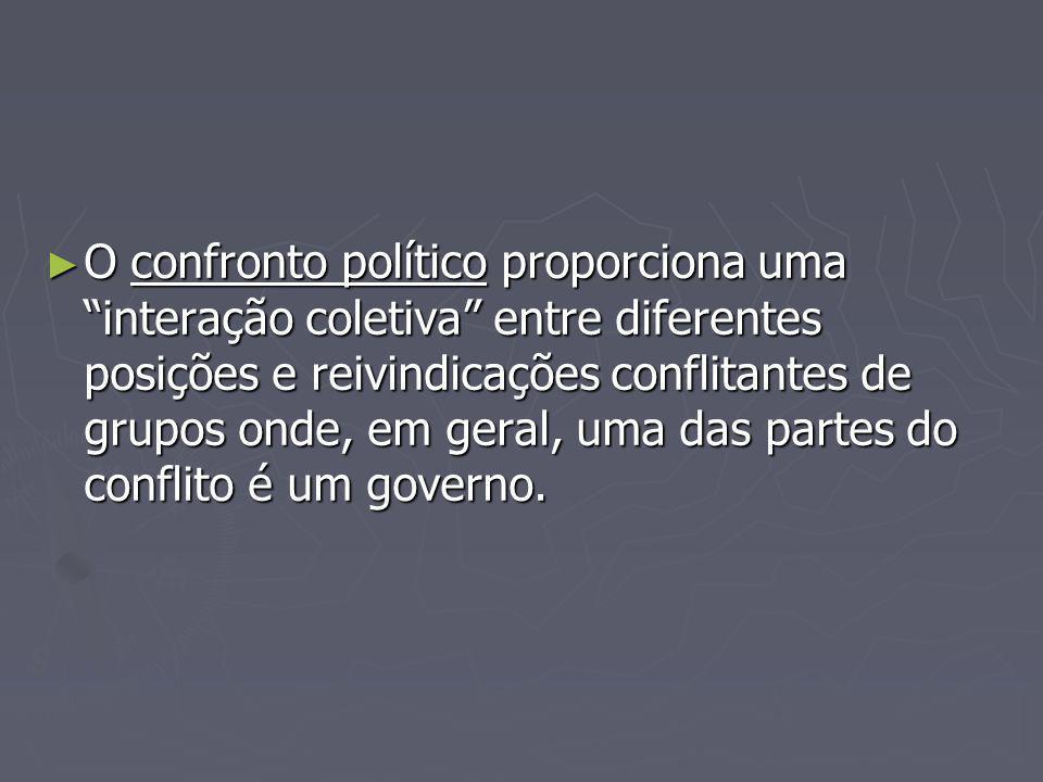 O confronto político proporciona uma interação coletiva entre diferentes posições e reivindicações conflitantes de grupos onde, em geral, uma das part