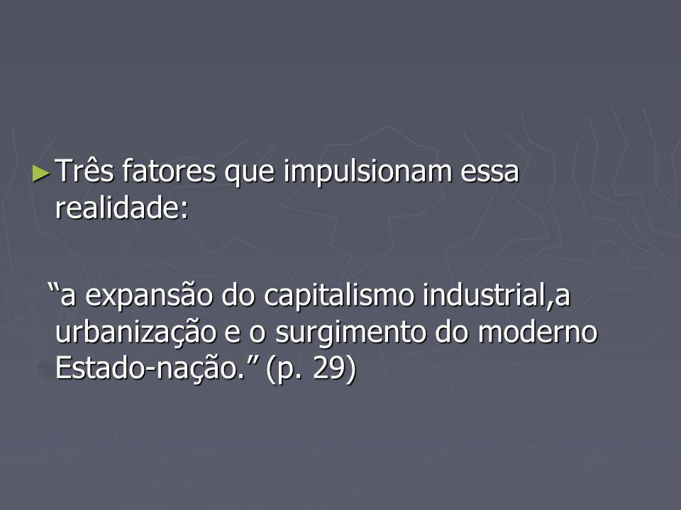 Três fatores que impulsionam essa realidade: Três fatores que impulsionam essa realidade: a expansão do capitalismo industrial,a urbanização e o surgimento do moderno Estado-nação.
