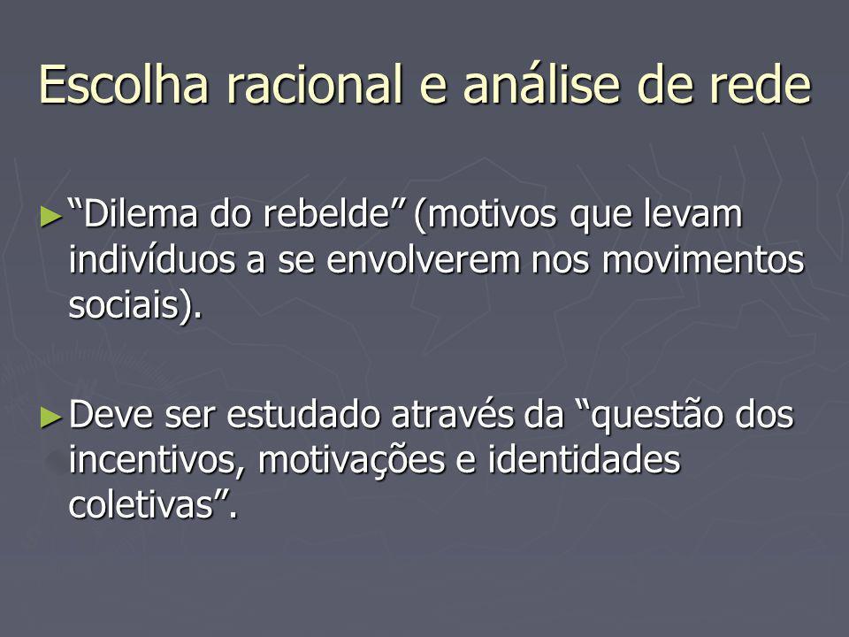 Escolha racional e análise de rede Dilema do rebelde (motivos que levam indivíduos a se envolverem nos movimentos sociais).