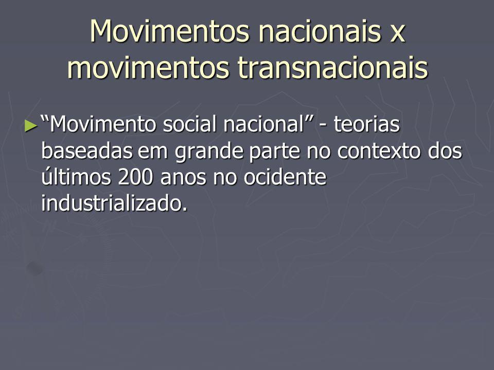 Movimentos nacionais x movimentos transnacionais Movimento social nacional - teorias baseadas em grande parte no contexto dos últimos 200 anos no ocidente industrializado.