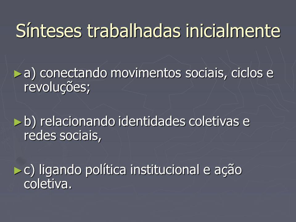Sínteses trabalhadas inicialmente a) conectando movimentos sociais, ciclos e revoluções; a) conectando movimentos sociais, ciclos e revoluções; b) relacionando identidades coletivas e redes sociais, b) relacionando identidades coletivas e redes sociais, c) ligando política institucional e ação coletiva.
