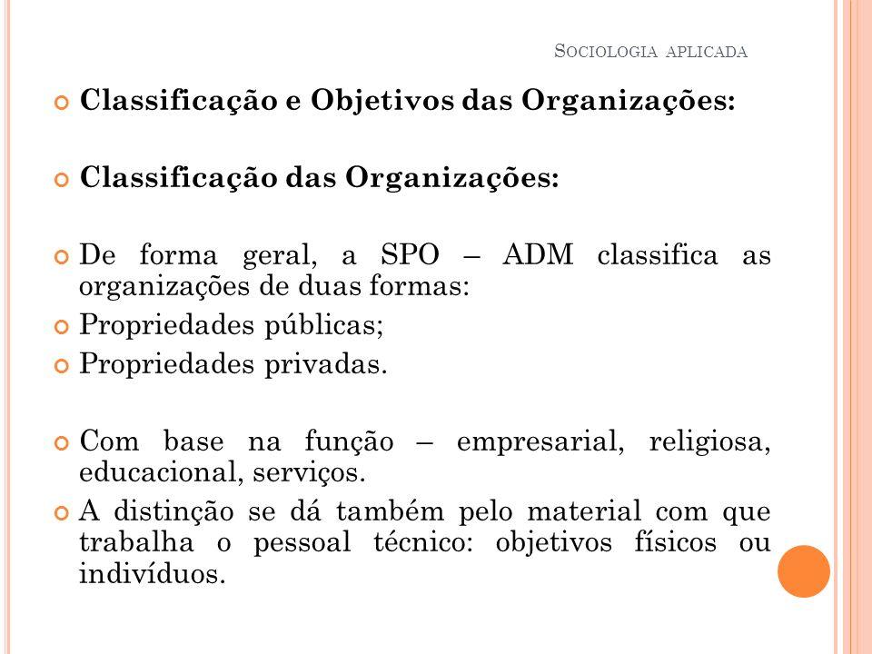 Classificação e Objetivos das Organizações: Classificação das Organizações: De forma geral, a SPO – ADM classifica as organizações de duas formas: Pro