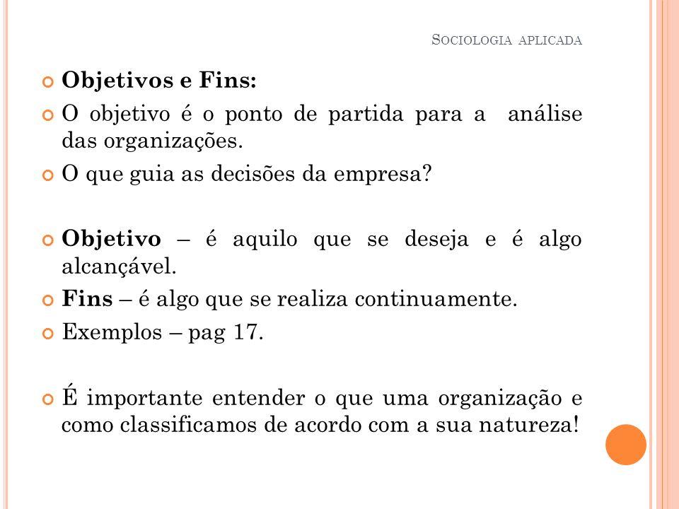 Objetivos e Fins: O objetivo é o ponto de partida para a análise das organizações. O que guia as decisões da empresa? Objetivo – é aquilo que se desej