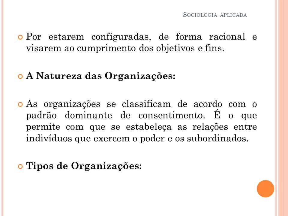Organização Coercitiva: A coerção é o principal meio de controle sobre os membros dos níveis inferiores, resultando daí elevada alienação dos mesmos em relação a entidade.