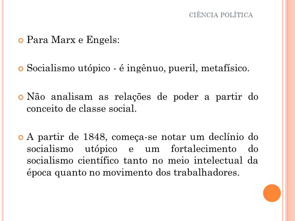Para Marx e Engels: Socialismo utópico - é ingênuo, pueril, metafísico. Não analisam as relações de poder a partir do conceito de classe social. A par