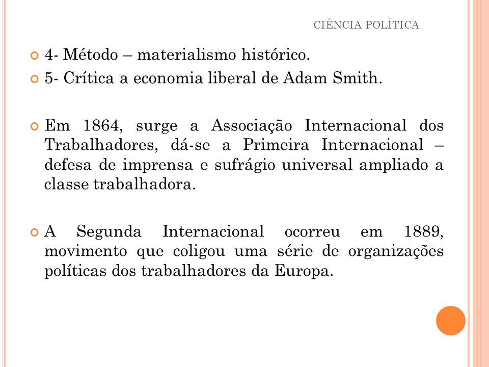 4- Método – materialismo histórico. 5- Crítica a economia liberal de Adam Smith. Em 1864, surge a Associação Internacional dos Trabalhadores, dá-se a