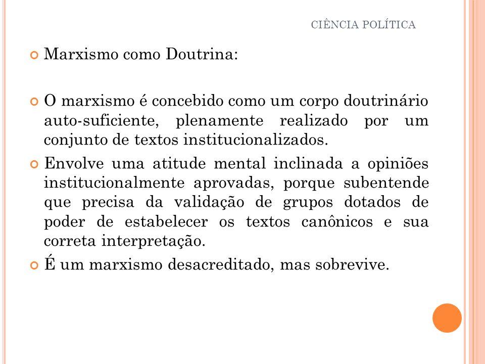 Marxismo como Doutrina: O marxismo é concebido como um corpo doutrinário auto-suficiente, plenamente realizado por um conjunto de textos institucional