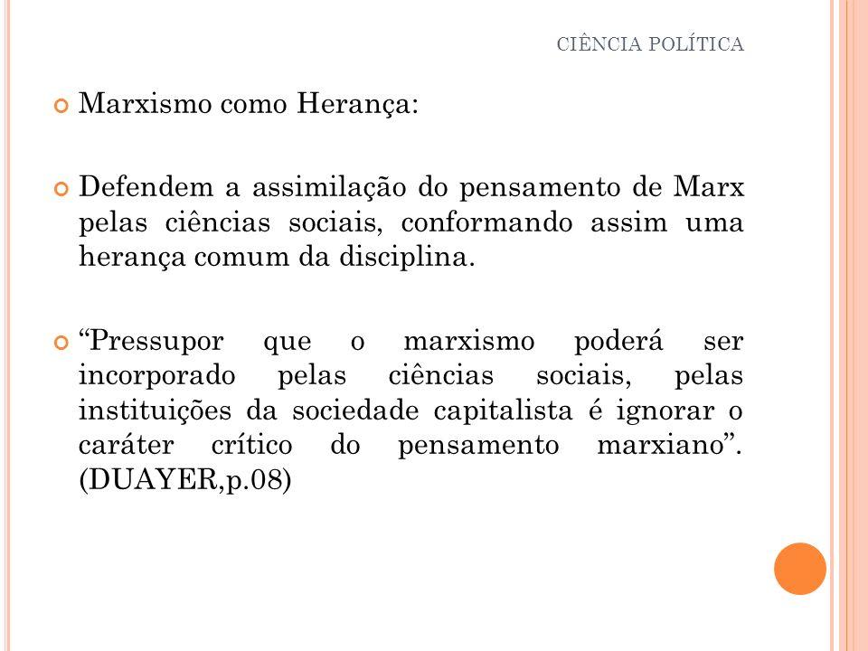 Marxismo como Herança: Defendem a assimilação do pensamento de Marx pelas ciências sociais, conformando assim uma herança comum da disciplina. Pressup